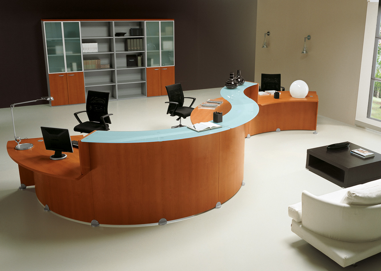modern office furniture reception desk trend. Black Bedroom Furniture Sets. Home Design Ideas