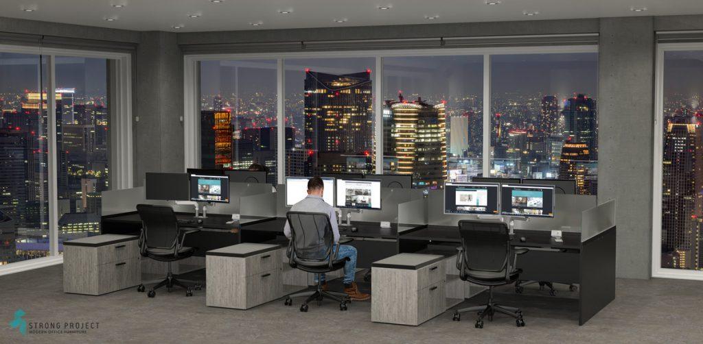 black modern post-Covid cubicle