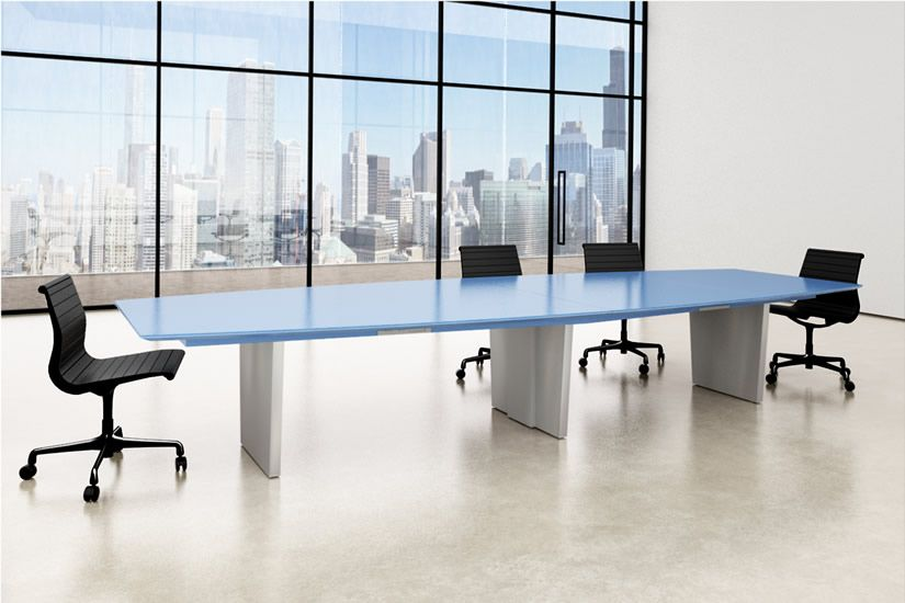 blue social distance conference table
