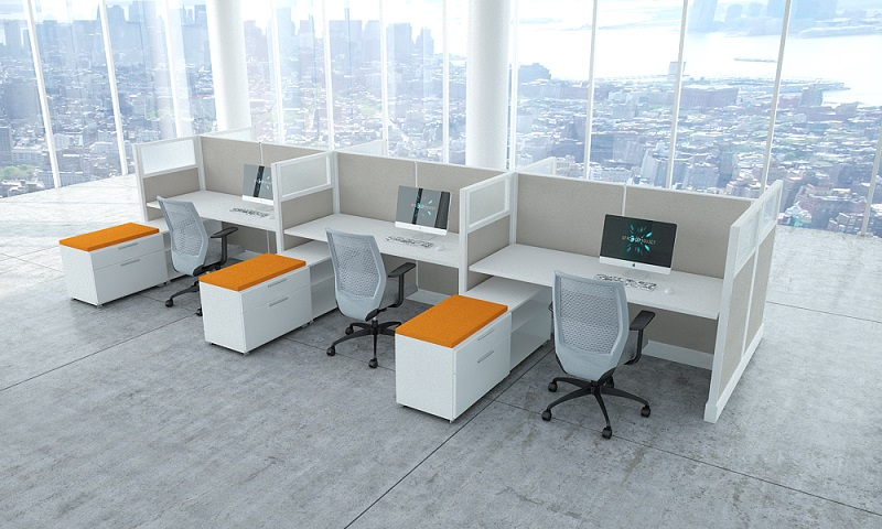 Go green in style modern office furniture for Used modular furniture