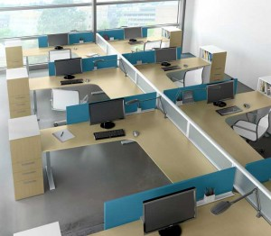 Adjustable height desks modular