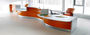 Orange and White Reception Desk