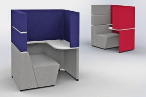 Acoustic furniture desks emphasize focus and quiet with device-free work zones.