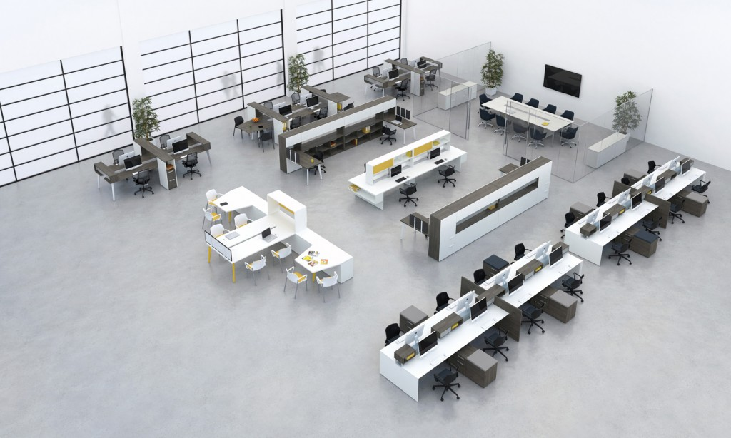 A modular workstation layout makes it easy to change your layout once a year in your office and stimular brain activity with employees.