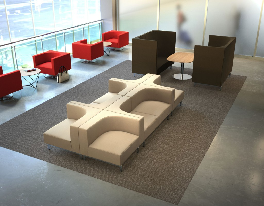 StrongProject offers a variety of collaborative seating areas to encourage gym-style layouts where employees can comfortably move from one activity space to another.