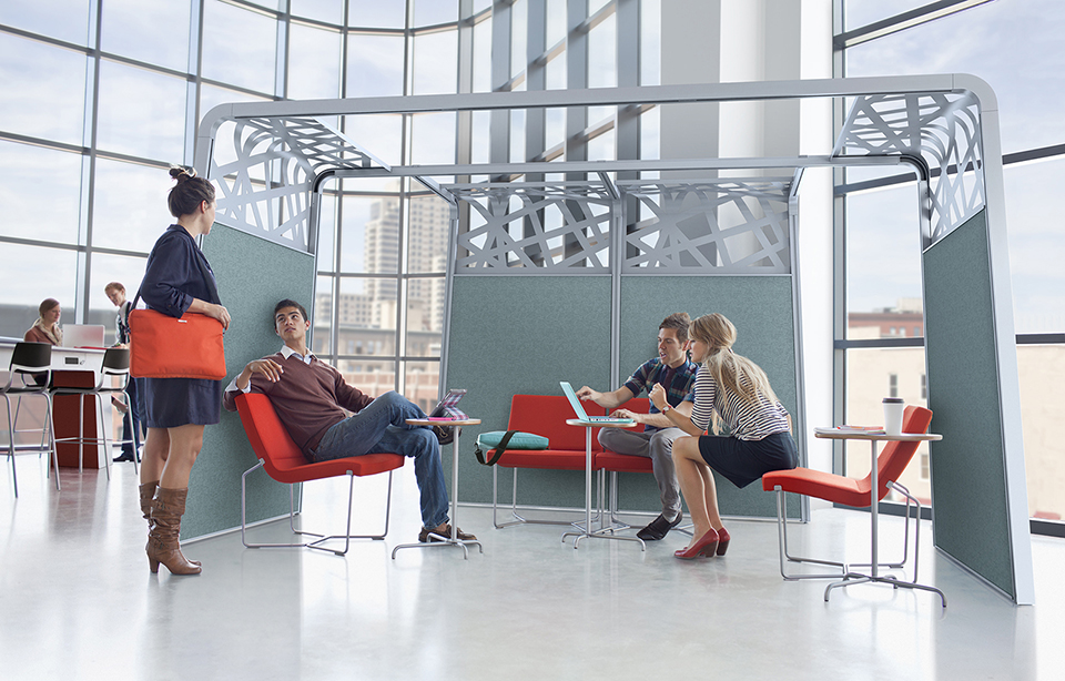 Collaborative office furniture is becoming more popular as employees choose to physically move more in their office space to conduct meetings and brainstorm.