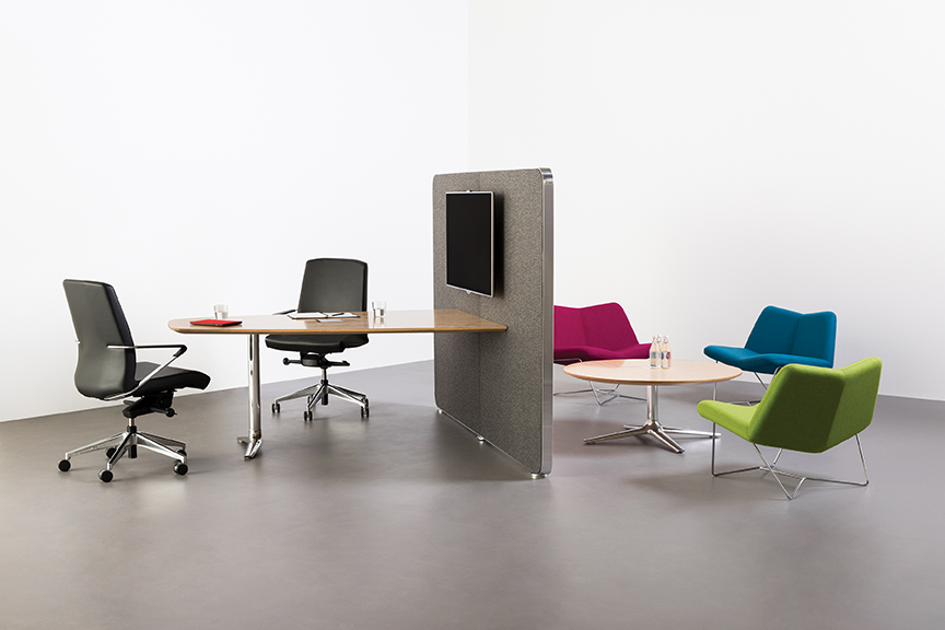 Cubicles are taking up less square footage to make room for collaborative workspaces.