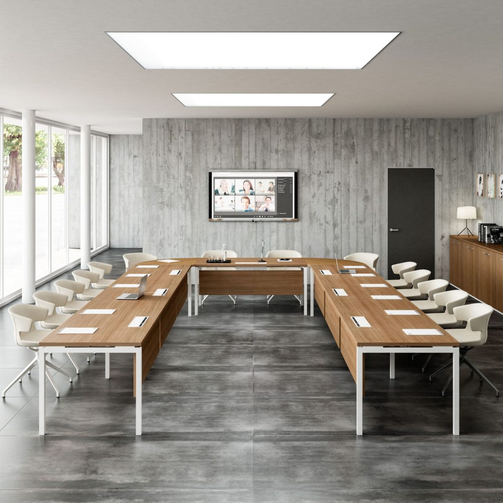 Consider investing in high quality furniture that can withstand a lot of use such as a conference table.