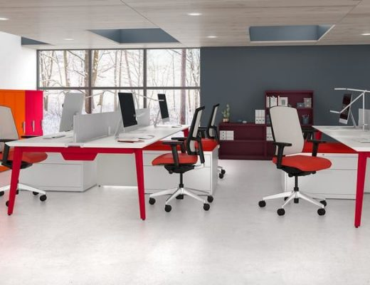 Colorful filing systems help brighten up a modern office space.