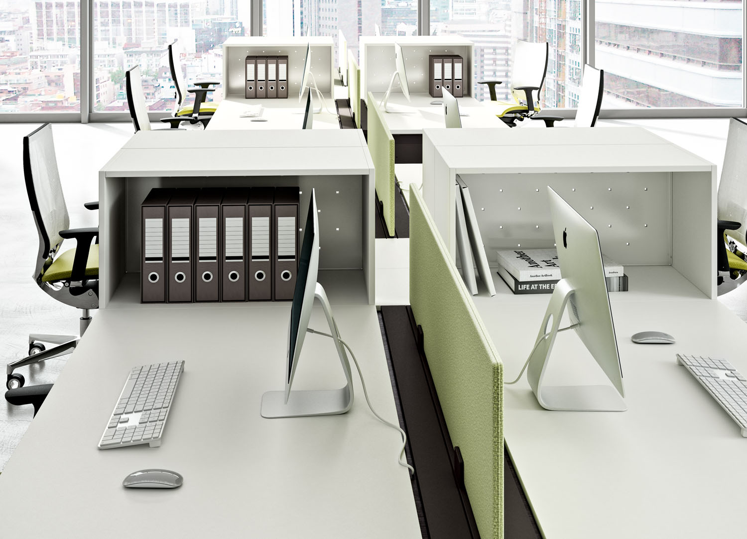 A modern office desk utilizes smart tech and storage so you can display what matters most. Learn more at StrongProject.