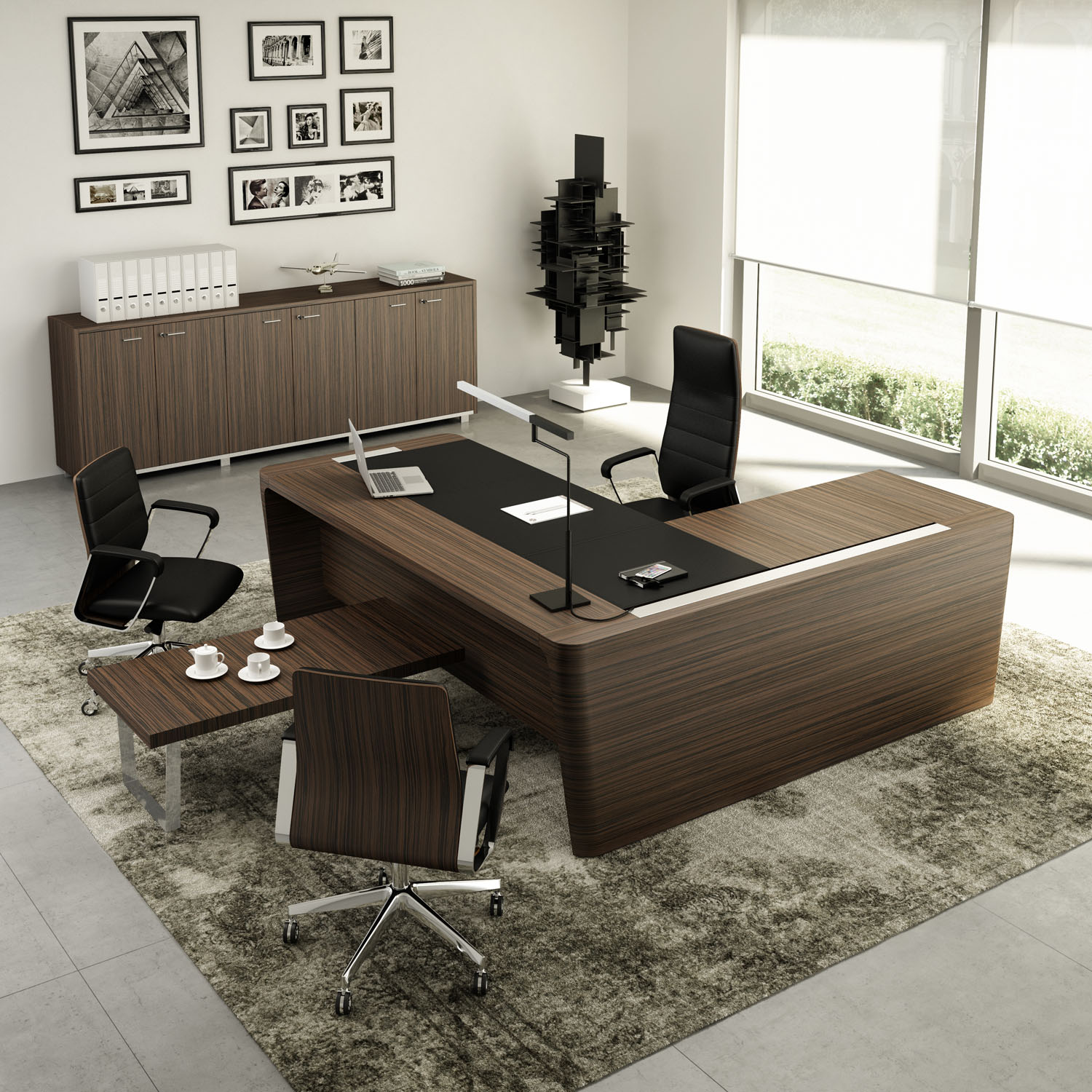 A powerful, modern office desk that's a little messy shows that you're a bold creative and visionary thinker.