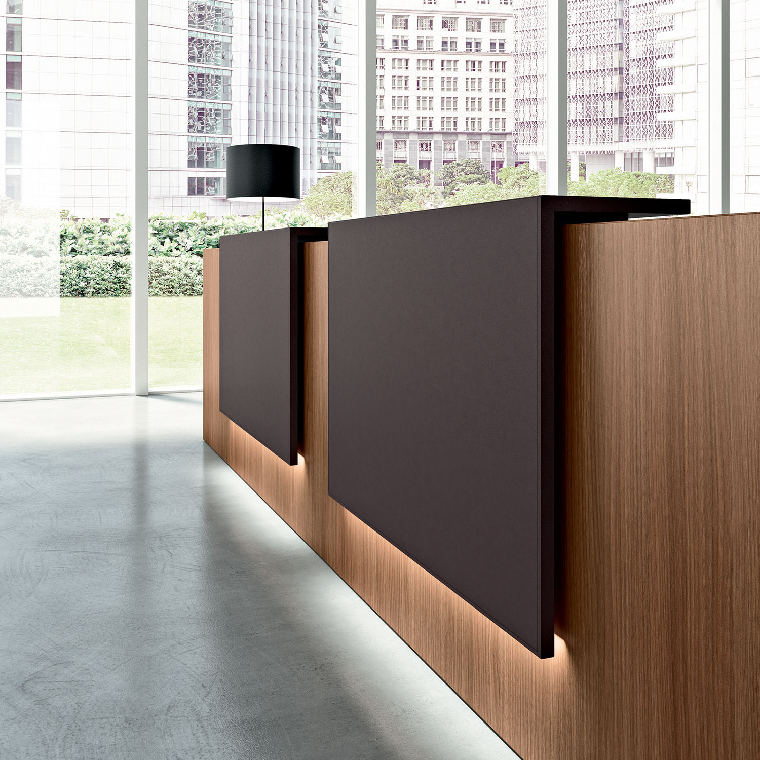 Reception desks with a bold block and smart lighting will draw attention