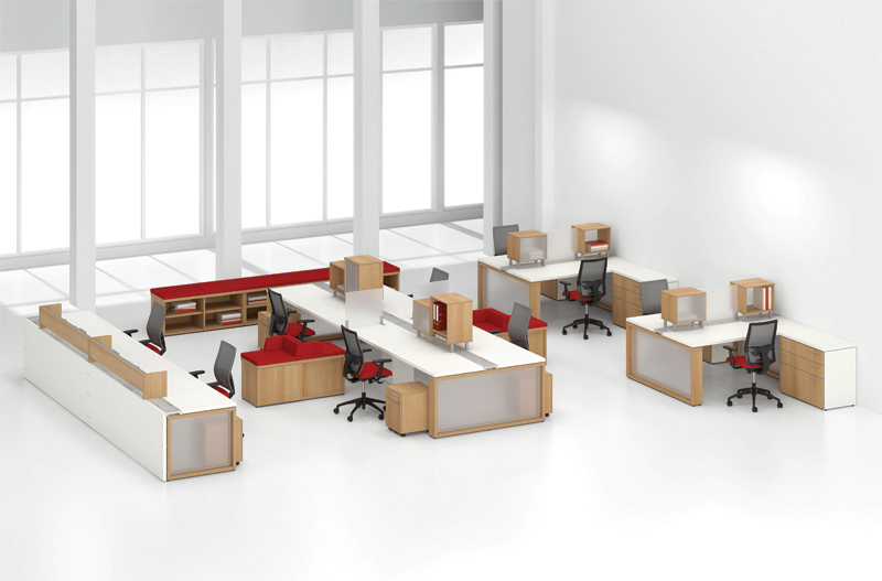 Modular office furniture with storage units.