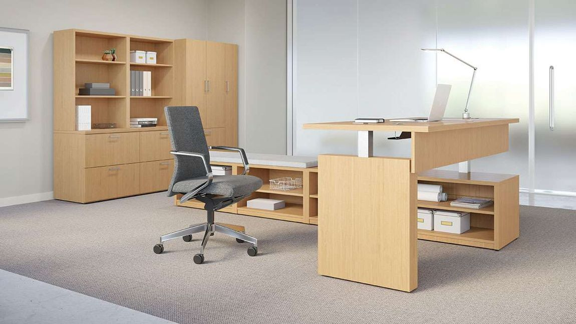 executive minimalist private office with ergonomic desk