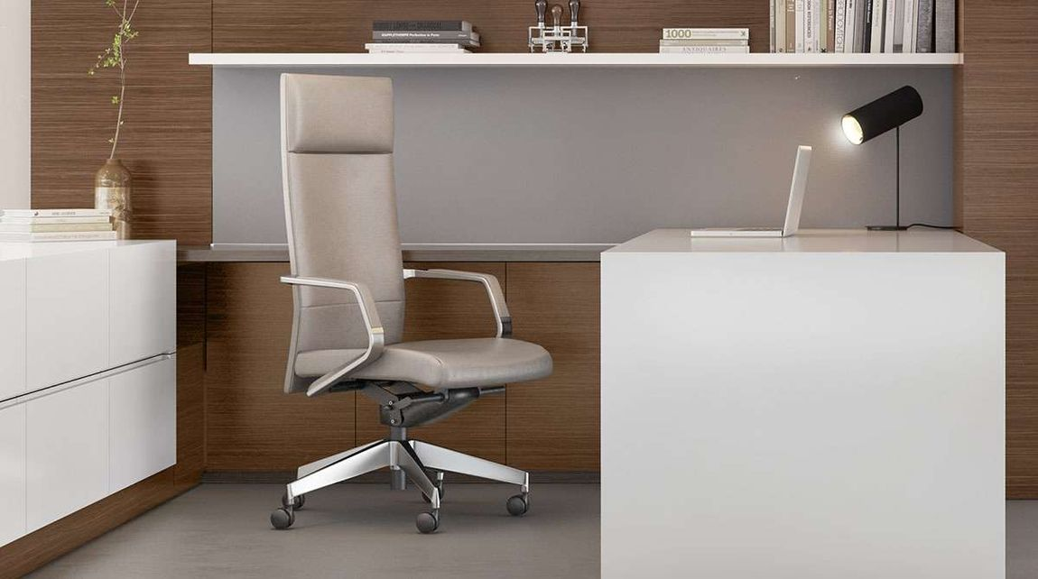 Beautiful cream colored leather executive office chair