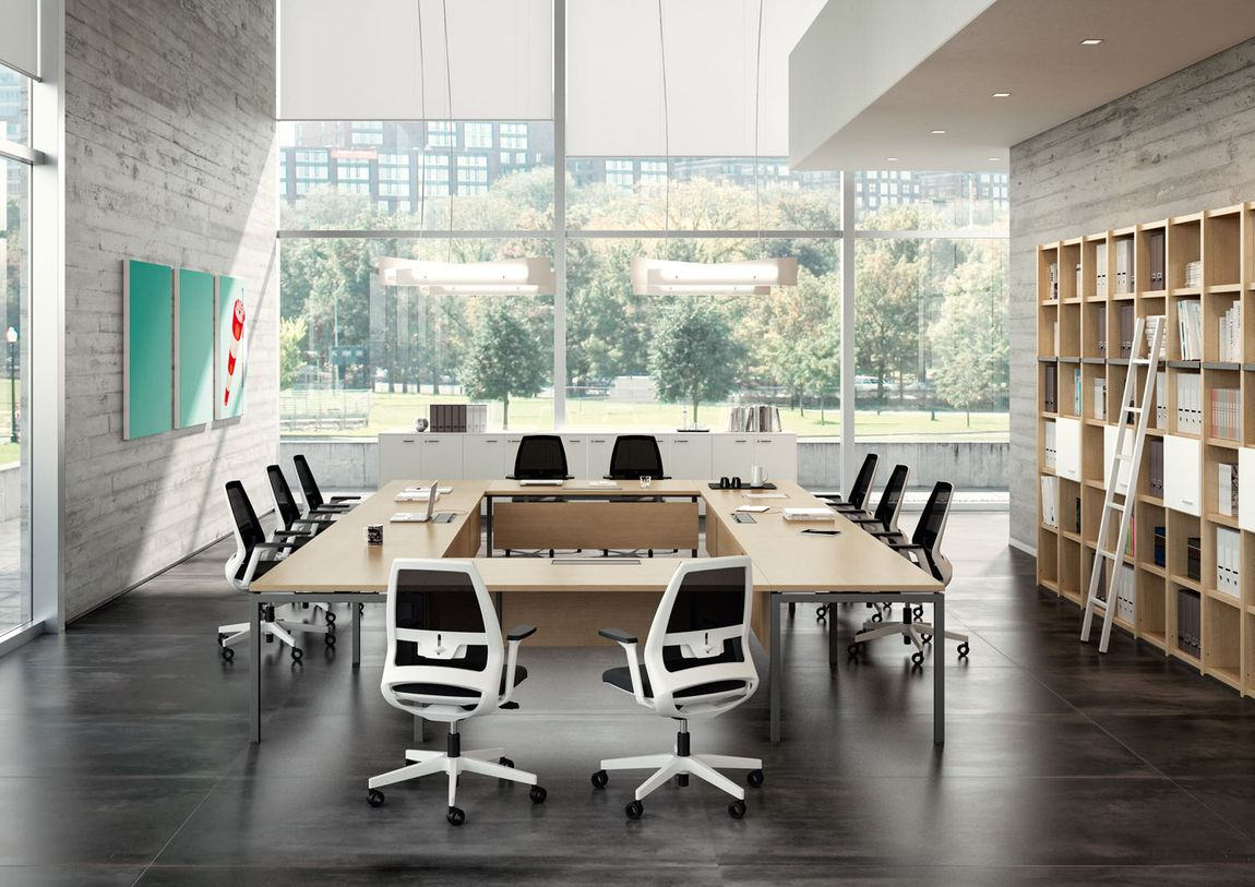 An executive conference table shaped in an open square.