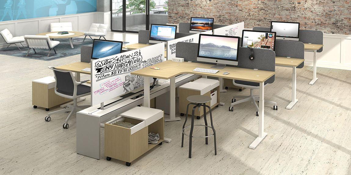 adjustable height desk workstation