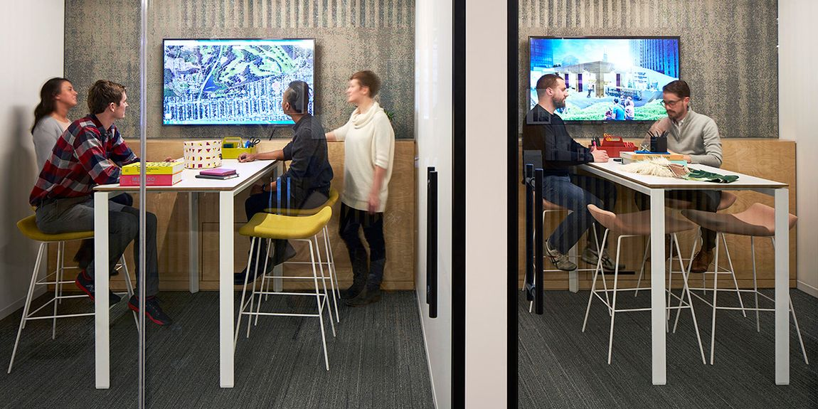 internet of things collaboration table with men and women