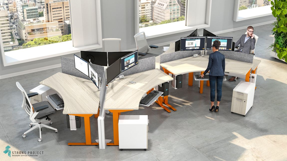 Workers at orange privacy cubicle