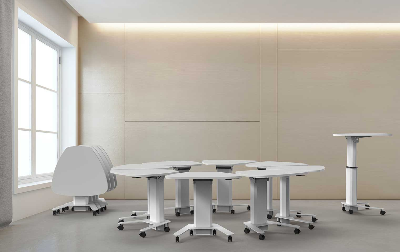 social distancing safe tables in white