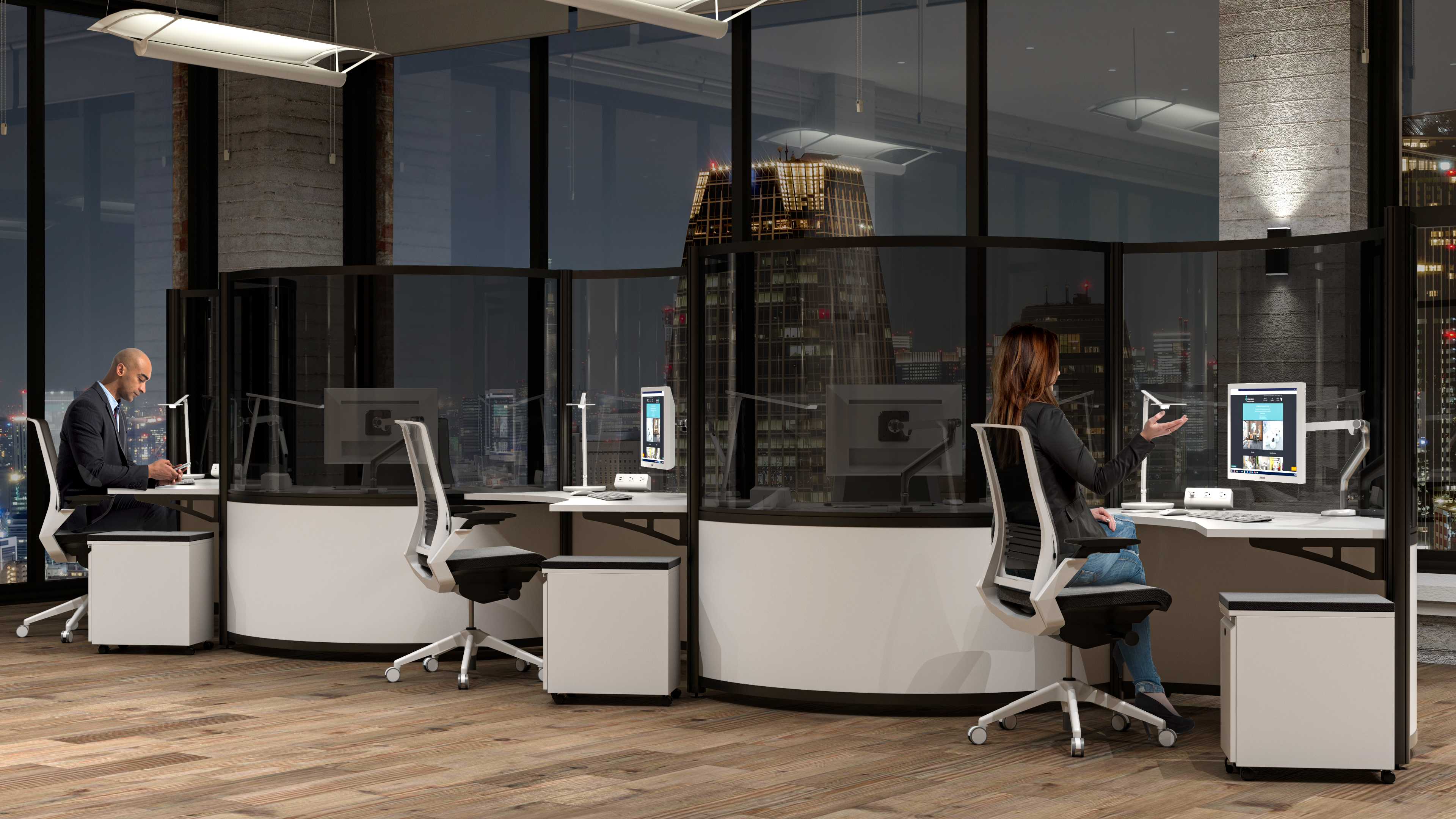 post-COVID office furniture with dark acrylic screen