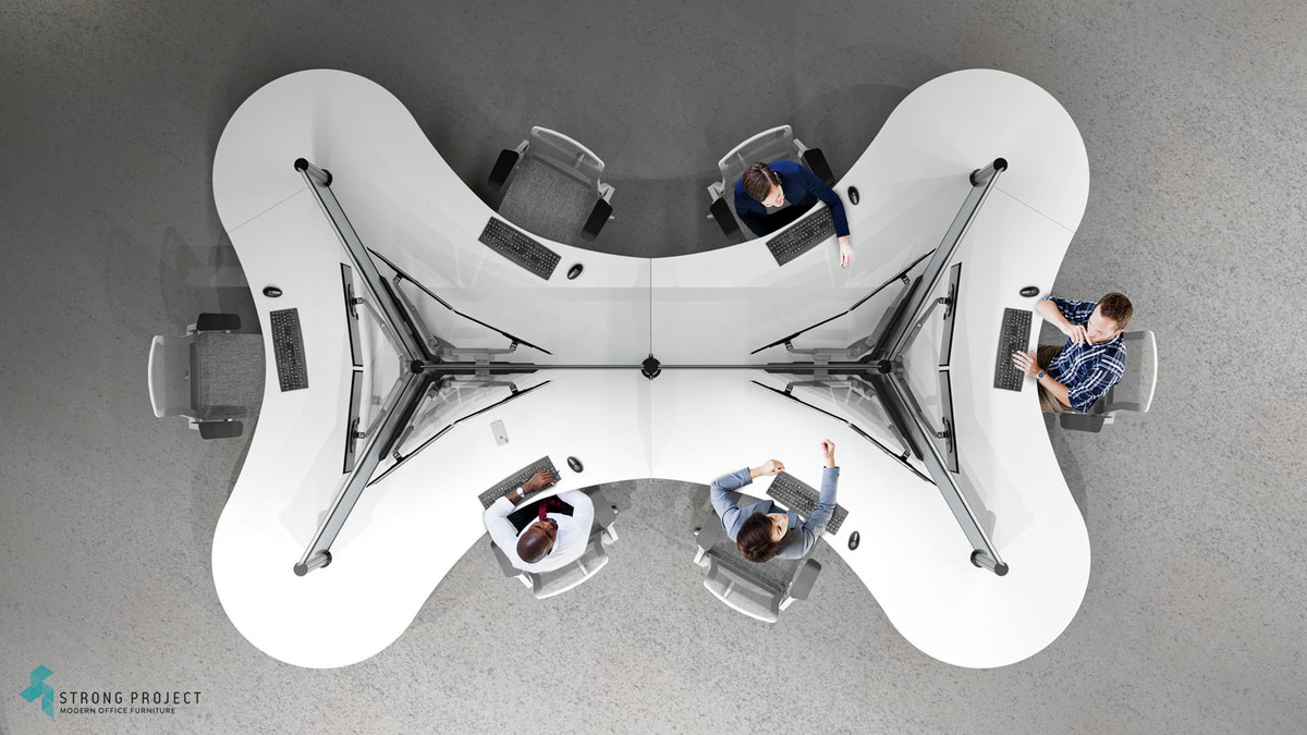 Overview of dogbone Post-COVID cubicle workstation