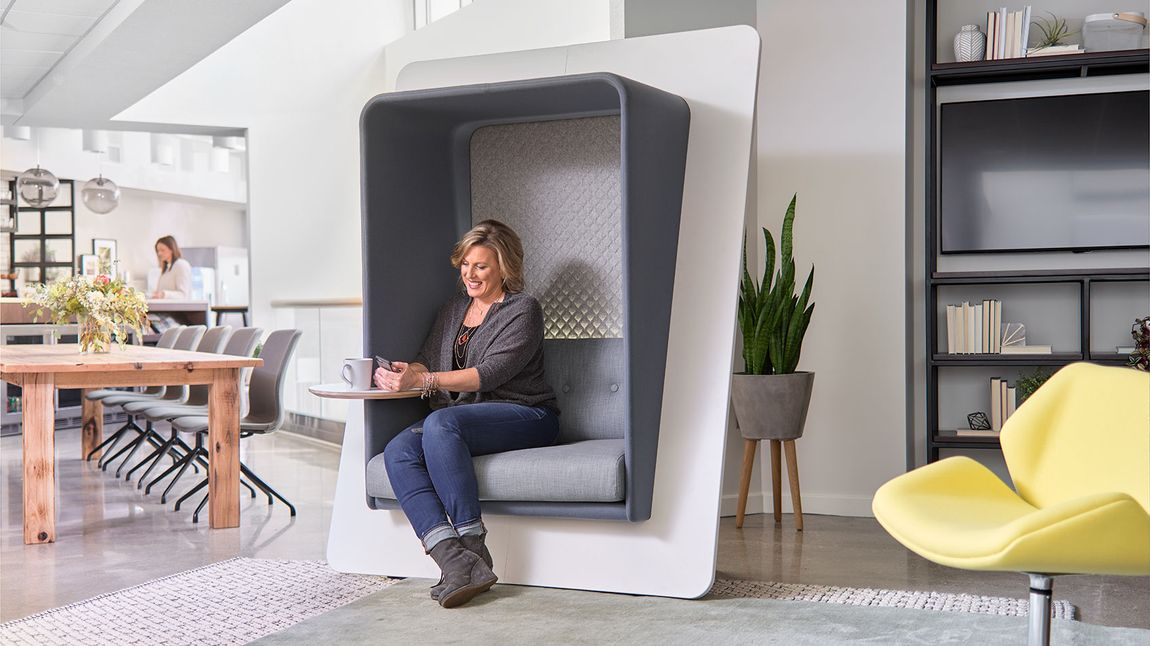 Socially distance in style with pop-up spaces like acoustic furniture