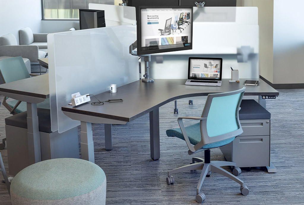 Protective screens for standing desks