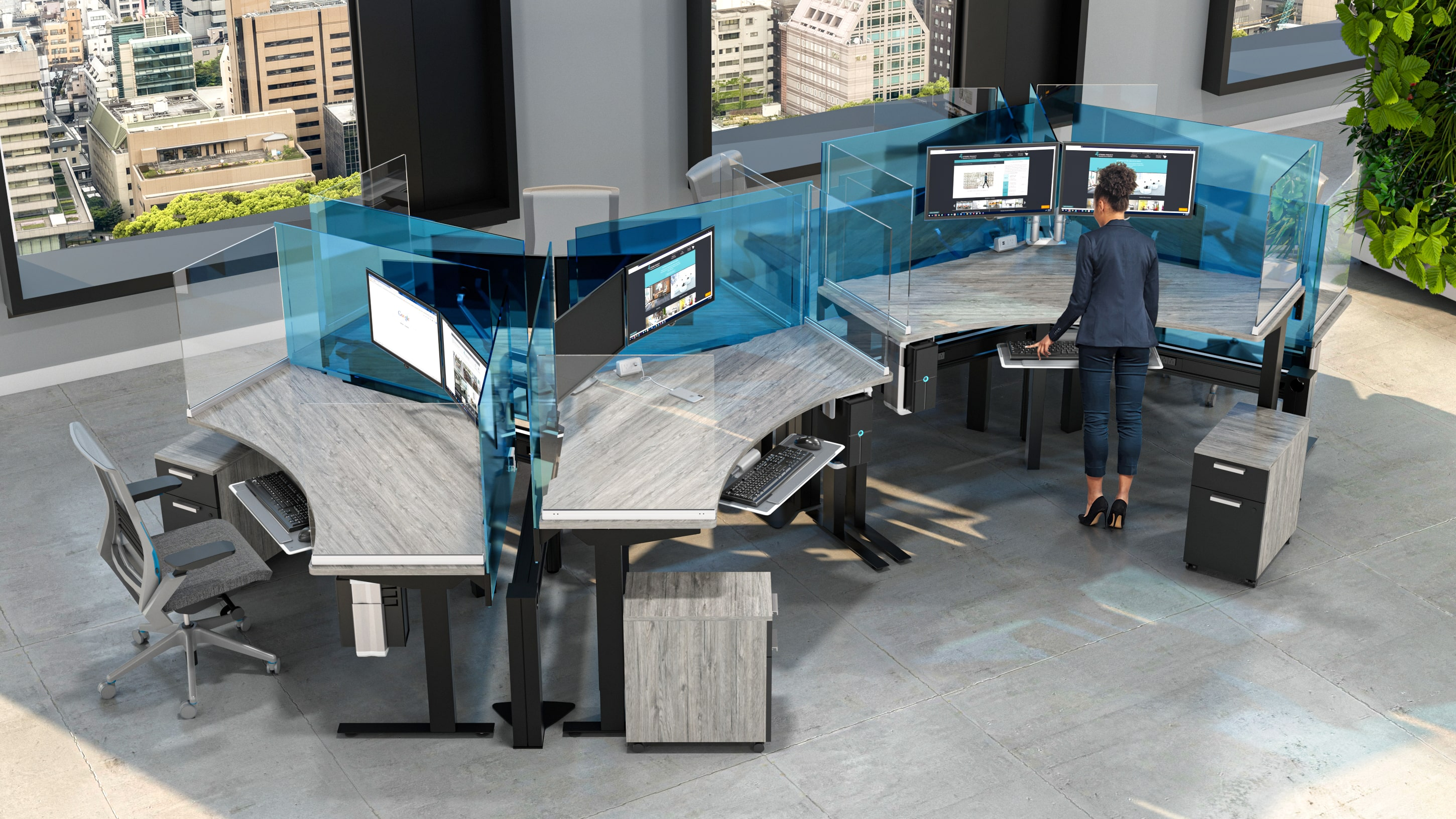 Social Distance Protective Screens For Workstations