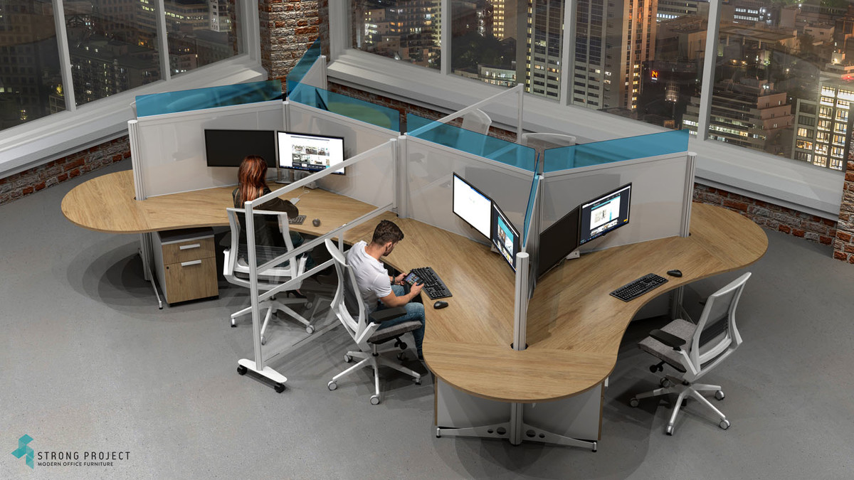 wishbone workstation design with additional privacy barrier