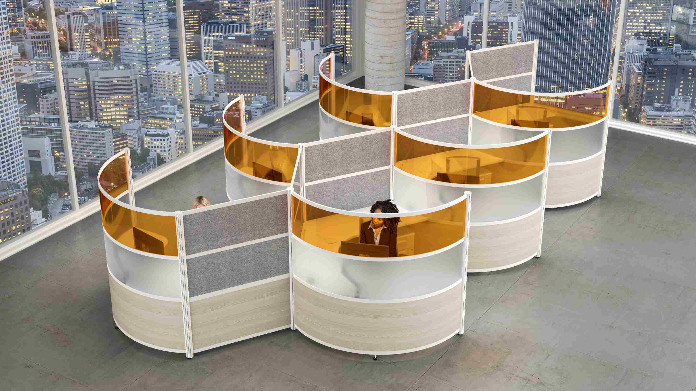 full-height curved office cubicles