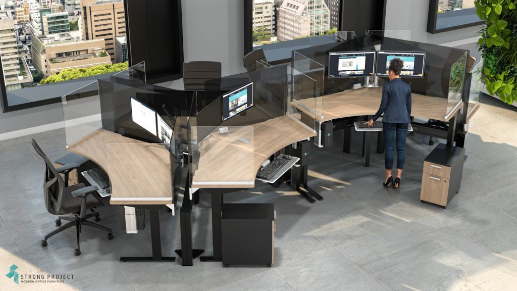 woman at ergonomic office workstation