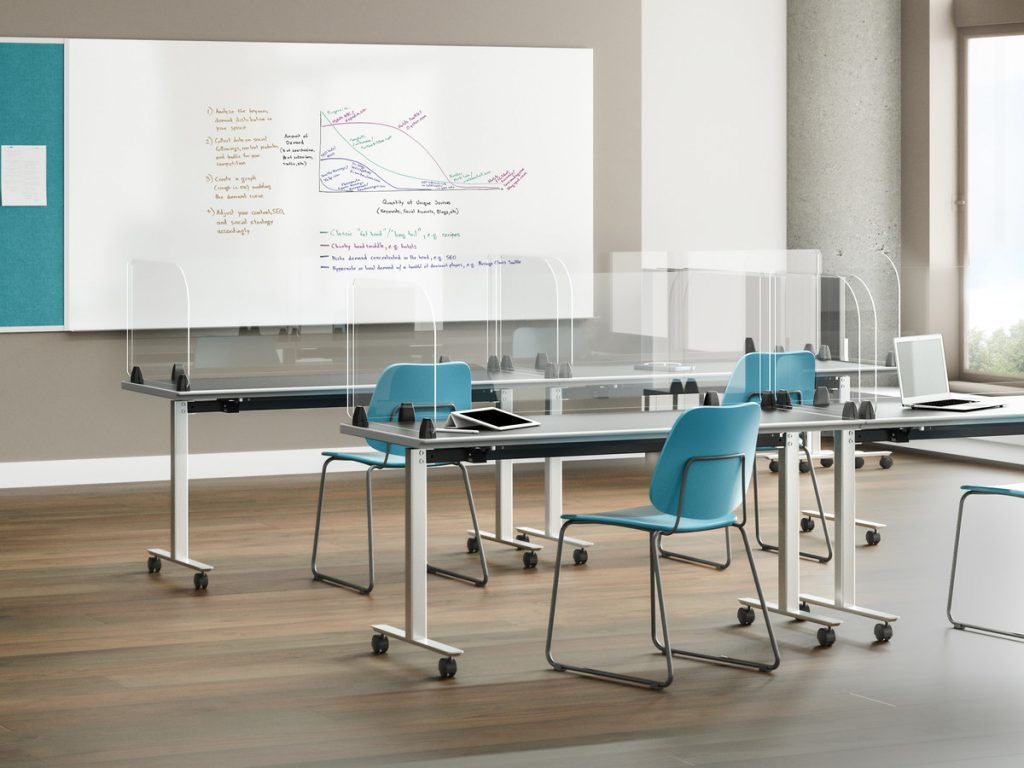 social distancing training room table protective screen