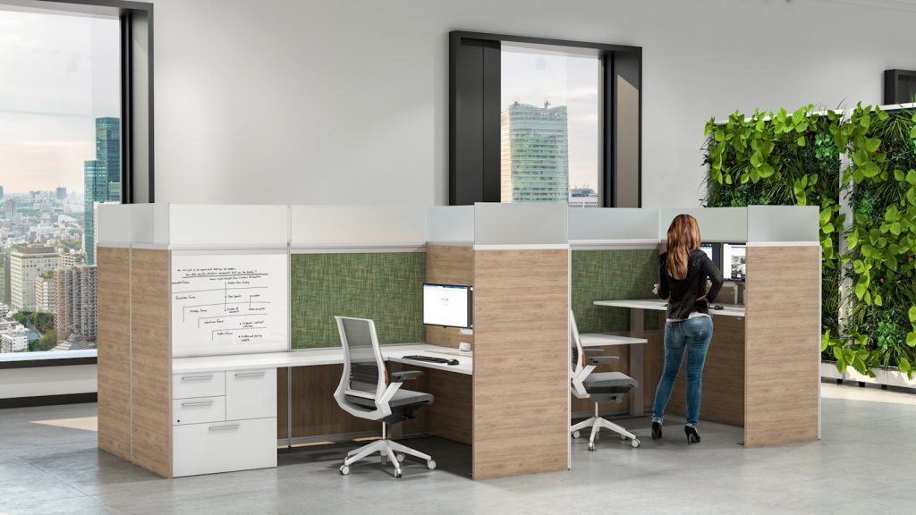 woman at ergonomic office cubicle with protective screen