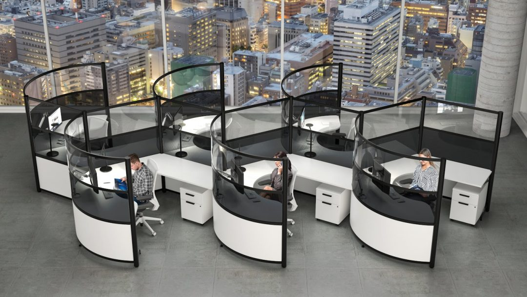 semi orbit clear screen call center cubicle