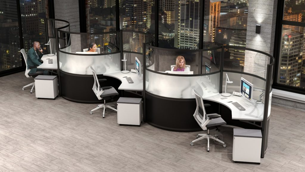 black curved modular office orbit