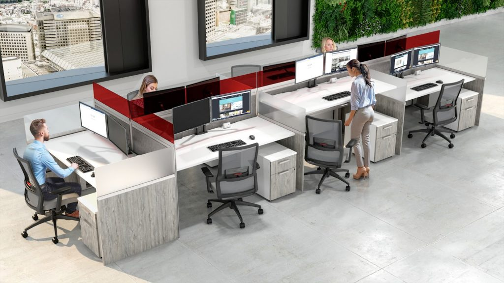 workstation red acrylic screen