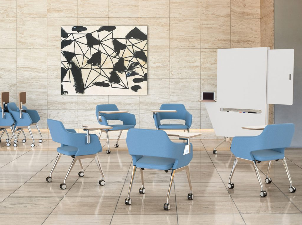 blue training chairs