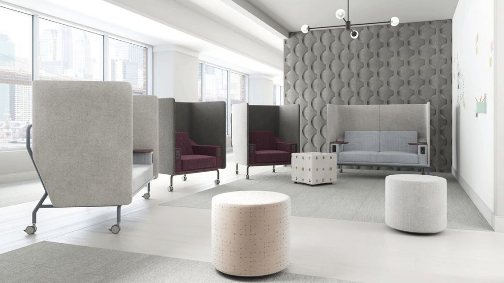 acoustic pod and bench for flexible office