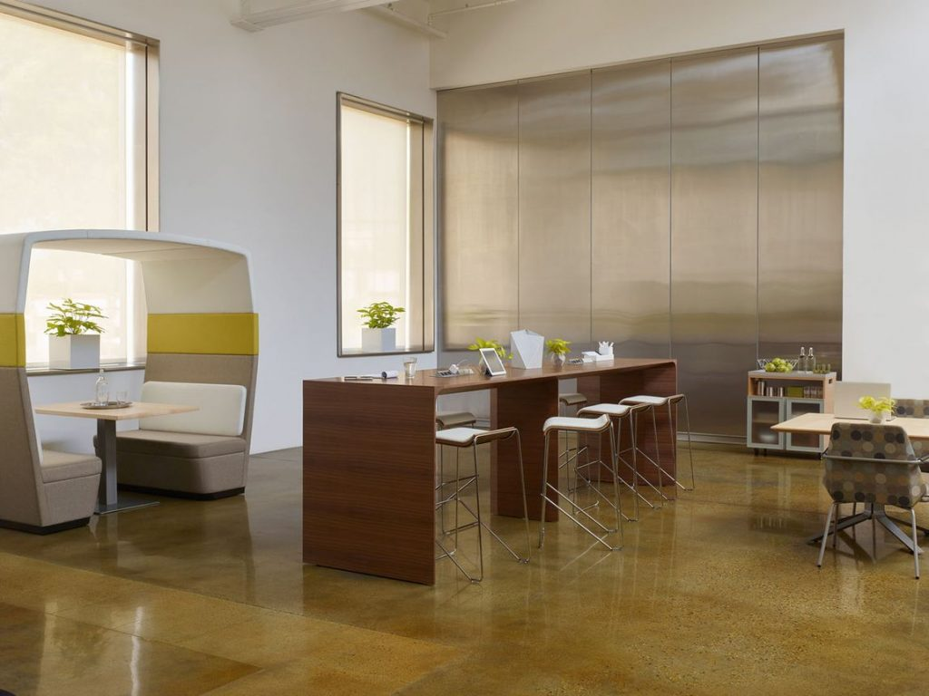 yellow accents in modern office furniture design