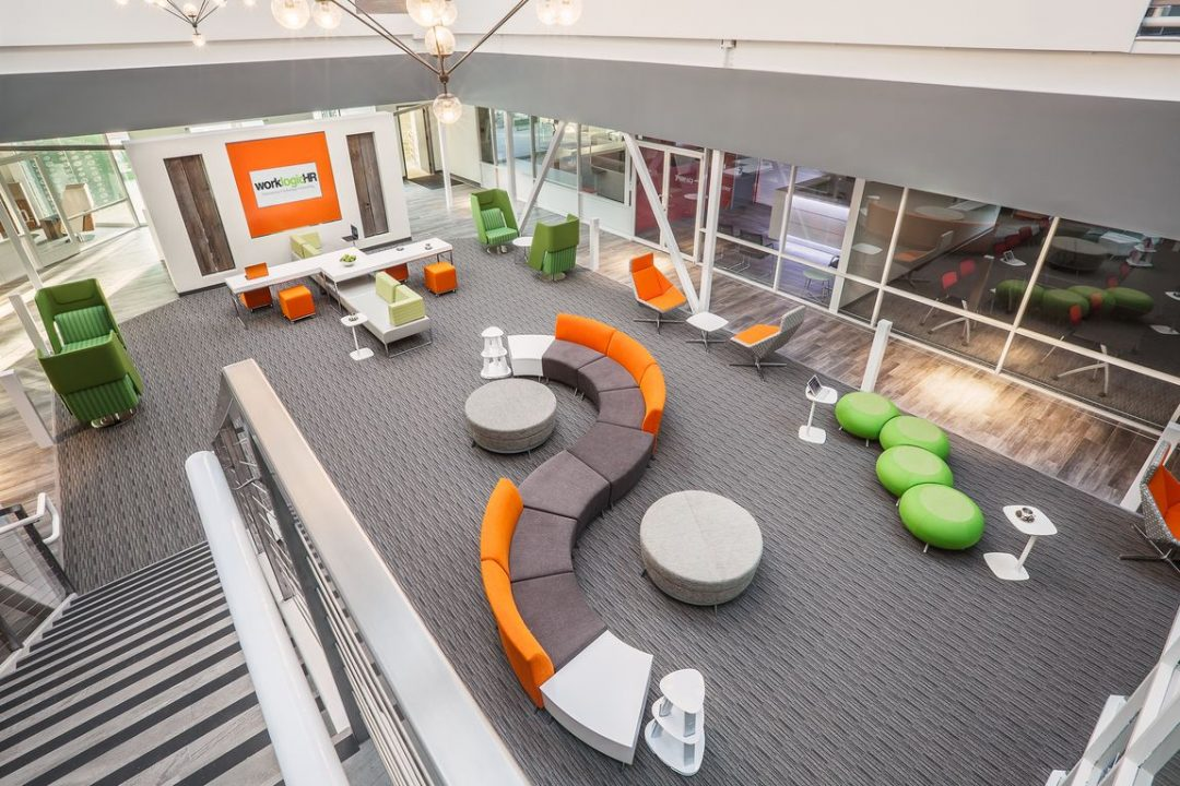 bright open office and office color psychology