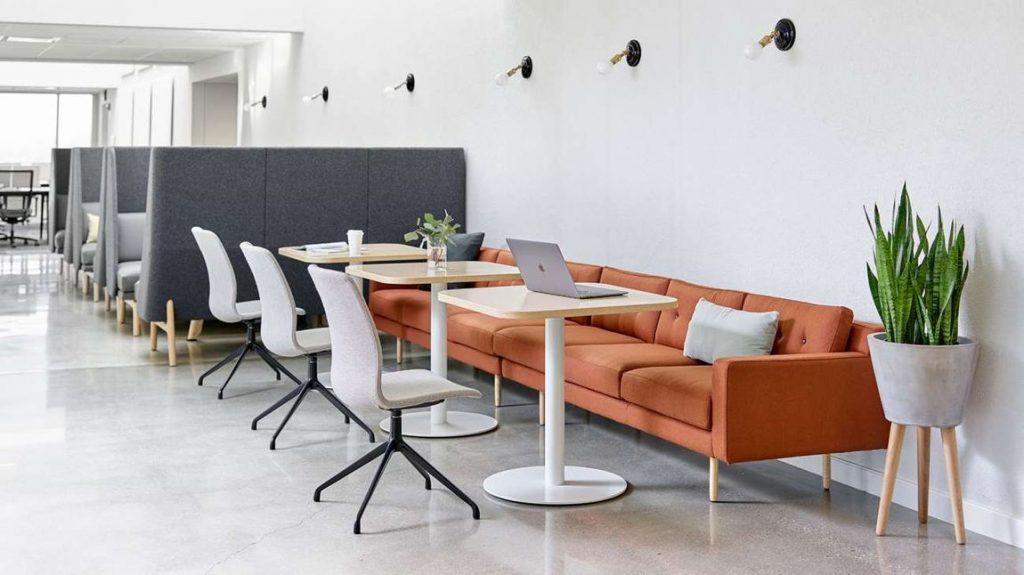 orange conference couch and office color psychology