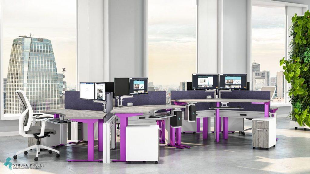 purple modular work station