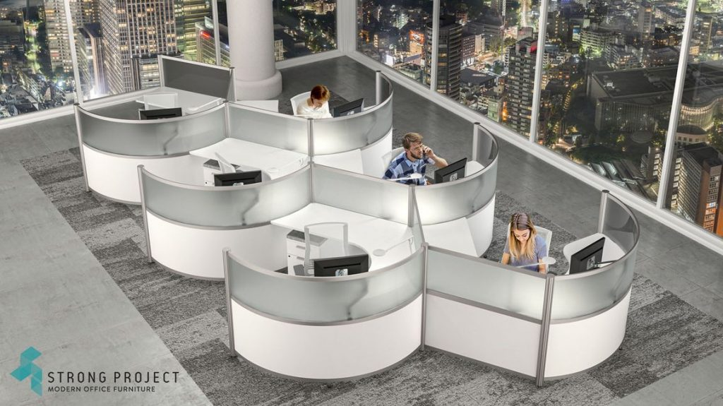 curved call center white