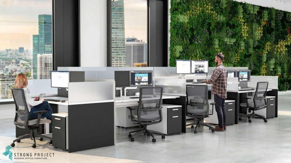 modern call center with supervisor station